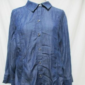 Chico's Chambray Smocked Back button top 3 14 16